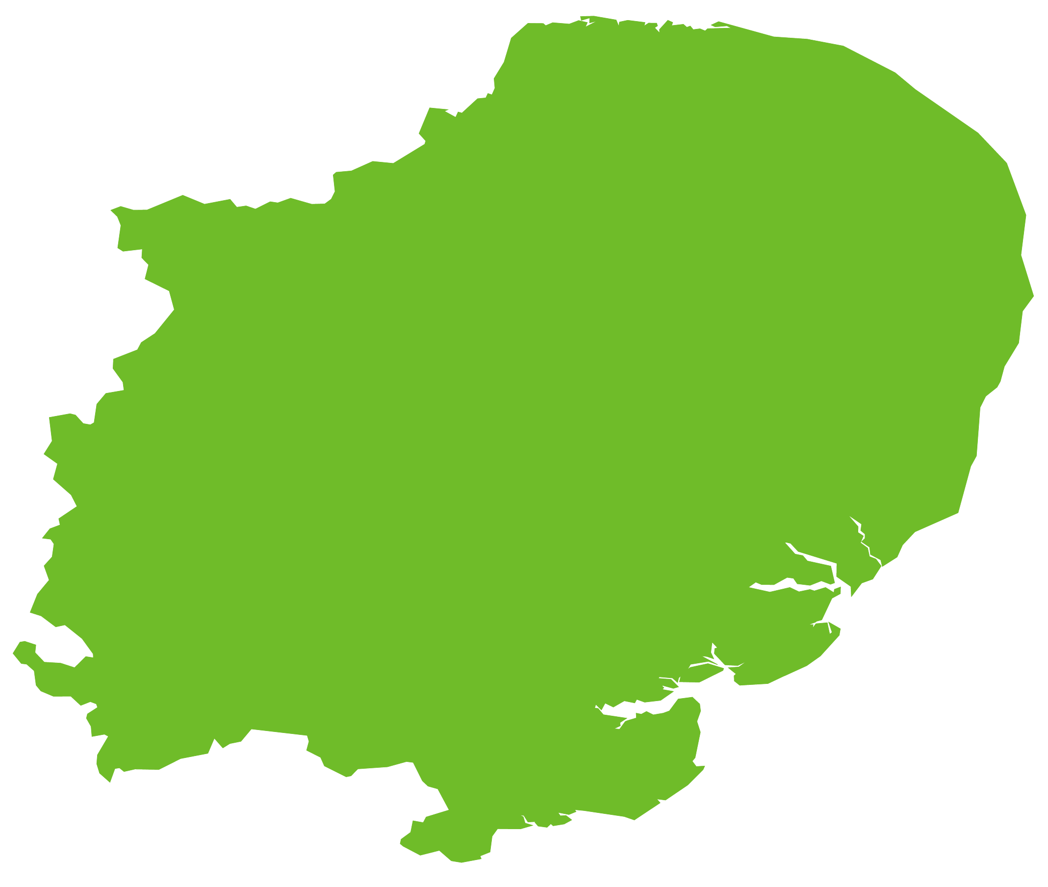 Map of the east of England