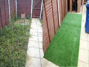 Artificial grass and shed Great Cornard